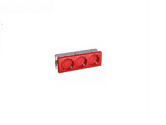 Розетка 2P+SIDE Schneider Electric с защтными шторками красный ALB45266