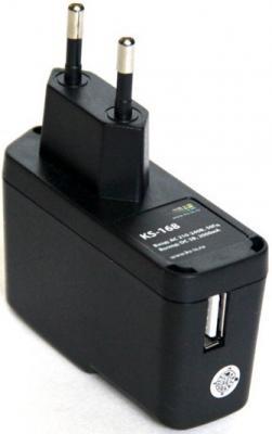 Сетевое зарядное устройство KS-is Qich KS-168 с кабелями microUSB Samsung TAB 2000мА черный аккумулятор ks is ks 303 20000mah blue black yellow
