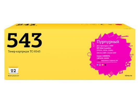 Картридж T2 CB543A для HP ColorLaserJet CP1215 CP1515n CP1518ni пурпурный 1400стр TC-H543 картридж t2 cb543a для hp colorlaserjet cp1215 cp1515n cp1518ni пурпурный 1400стр tc h543