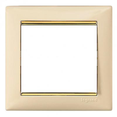Рамка Legrand Valena 1 пост слоновая кость/золотой штрих 774151