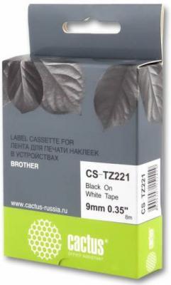 Картинка для Лента Cactus CS-TZ221 для принтеров Brother P-touch 1010/1280/1280VP/2700VP черный на белом 9х8мм