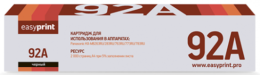 Тонер-картридж EasyPrint KX-FAT92A для Panasonic KX-MB263RU KX-MB263RU KX-MB271RU KX-MB283RU KX MB 763RU KX MB772RU KX MB773RU KX MB781RU KX MB783RU KX FG 2451 2000стр Черный