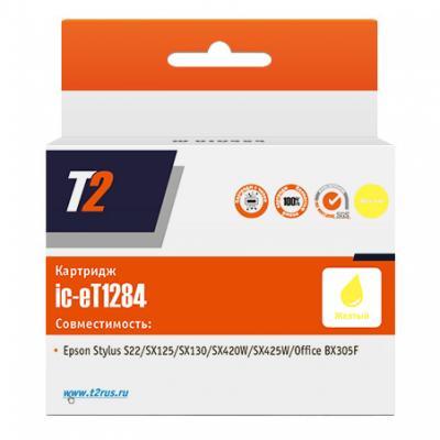 Картридж T2 IC-ET1284 C13T12844010 для Epson Stylus 22/SX125/SX130/SX420W/Office BX305F желтый с чипом