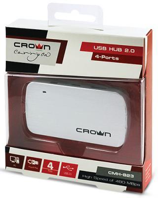 Концентратор USB Crown CMH-B23 4 порта серебристый CM000001179