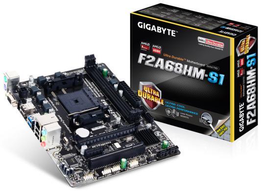 Мат. плата для ПК GigaByte GA-F2A68HM-S1 Socket FM2+ AMD A68H 2xDDR3 1xPCI-E 16x 1xPCI-E 1x 4xSATAIII mATX Retail