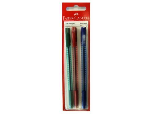 цены Шариковая ручка Faber-Castell Grip 2020 красный синий зеленый 3шт 263417