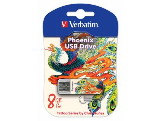 Флешка USB 8Gb Verbatim Store n Go Mini 49883 USB2.0 белый Tattoo Phoenix флешка usb 8gb verbatim store n go mini tattoo edition dragon 49884 usb2 0 белый