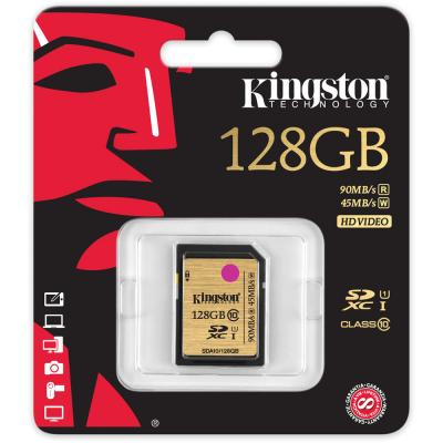 Карта памяти SDXC 128GB Class 10 Kingston SDA10/128GB UHS-I Read 90Mb/s Write 45Mb/s карта памяти kingston sdc10 16gbsp