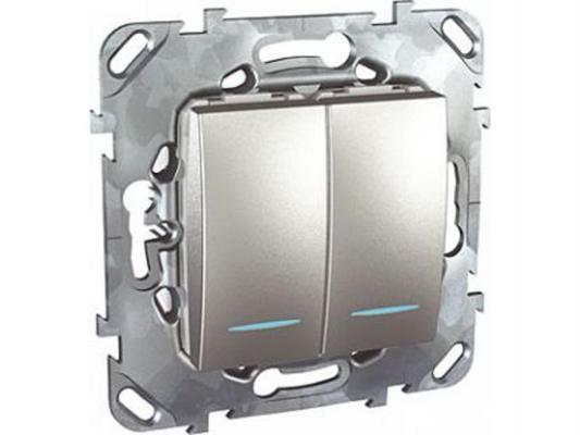 Выключатель Schneider Electric 2-клавишный с подсветкой серебристый MGU5.0101.30NZD
