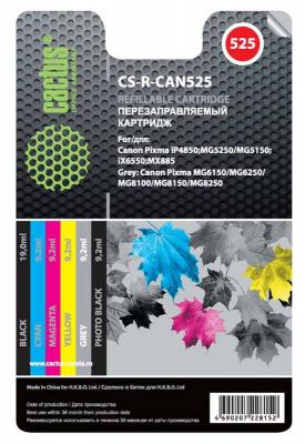 Комплект перезаправляемых картриджей Cactus CS-R-CAN525 для Canon PIXMA iP4850 MG5250 MG5150 iX6550 MX885 картридж совместимый для струйных принтеров cactus cs pgi29y желтый для canon pixma pro 1 36мл cs pgi29y