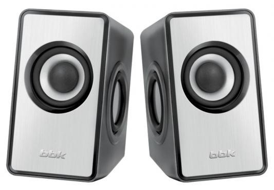 Колонки BBK CA-203S 2x3 Вт USB серебристый
