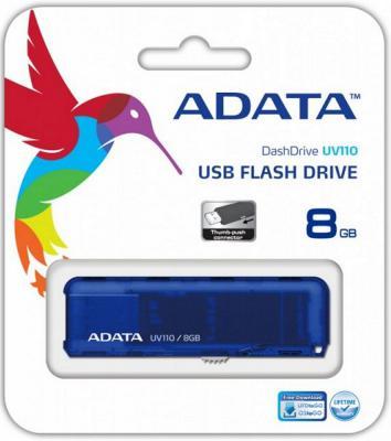 Флешка USB 8Gb A-Data UV110 USB2.0 AUV110-8G-RBL синий usb flash drive 8gb a data uc510 metallic blue auc510 8g rbl