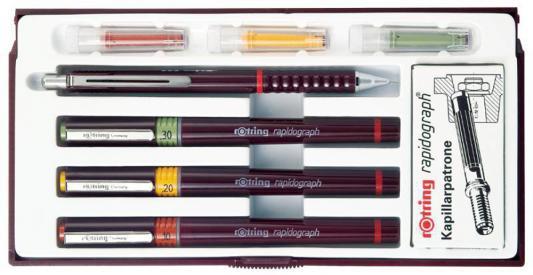 Набор рапидографов Rotring Combi Junior Set разноцветный 3 рапидографа (0.25, 0.35, 0.50 мм), карандаш Rotring Tikky 0.5 мм, 6 картриджей