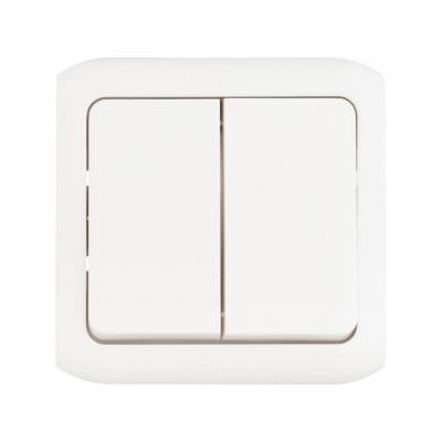 Выключатель Legrand Quteo 10А 2 клавишb белый 782302 выключатель двухклавишный наружный бежевый 10а quteo
