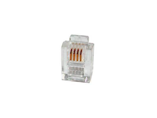 Коннектор RJ-11 6P4C 100шт коннектор rj 12 6p4c 100шт proconnect 05 1012 3