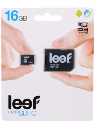 Карта памяти Micro SDHC 16Gb Class 10 Leef LMSA0KK016R5 + адаптер SD leef leef microsdhc class 10 16gb без адаптера