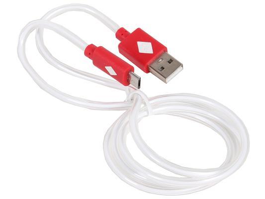 Кабель USB 2.0 AM-microBM 1.0м с подсветкой красный 3Cott 3C-CLDC-066BR-MUSB