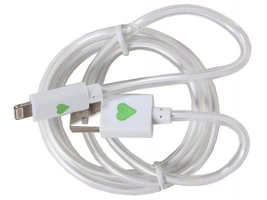 Кабель 3Cott 3C-LDC-065W-IP5 Apple Lightning MFI с подсветкой теплого оттенка 1м белый