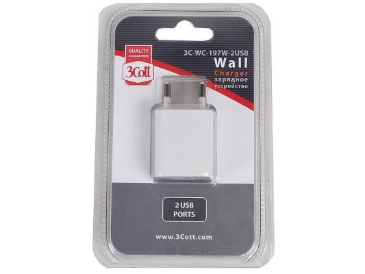 Сетевое зарядное устройство 3Cott 3C-WC-197W-2USB белый
