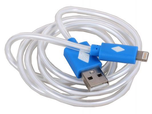 Кабель 3Cott 3C-LDC-065BL-IP5 Apple Lightning MFI с подсветкой теплого оттенка 1м синий