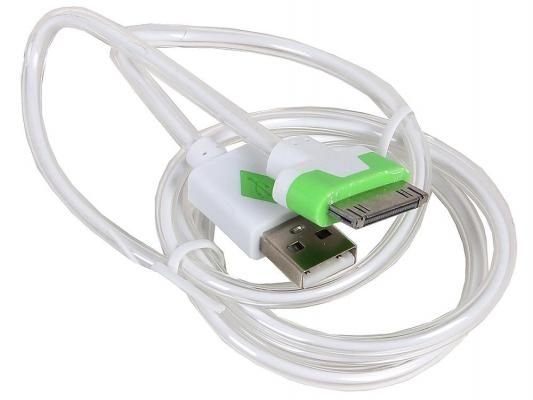 Кабель 3Cott 3C-LDC-064W-IP4 Apple 30-pin с подсветкой теплого оттенка 1м белый