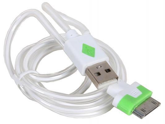 Кабель 3Cott 3C-CLDC-064BW-IP4 Apple 30-pin с подсветкой холодного оттенка 1м белый
