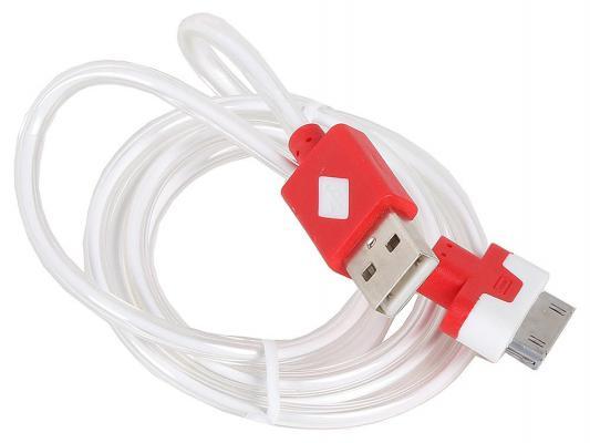 Кабель 3Cott 3C-CLDC-064BR-IP4 Apple 30-pin с подсветкой холодного оттенка 1м красный