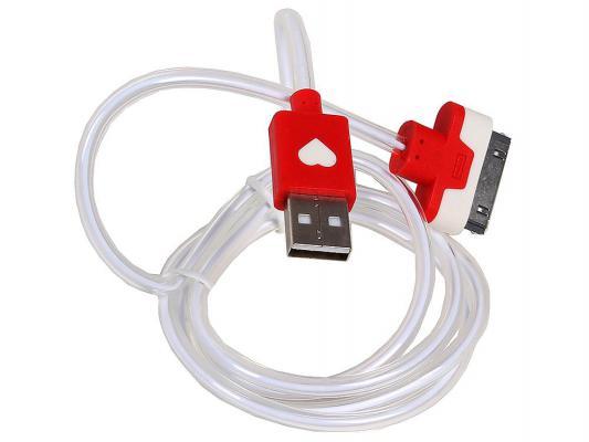 Кабель 3Cott 3C-LDC-064R-IP4 Apple 30-pin с подсветкой теплого оттенка 1м красный