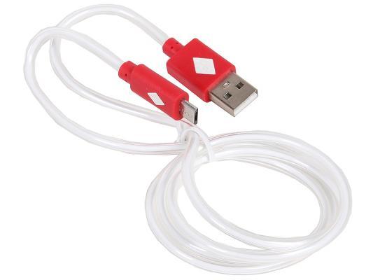Кабель USB 2.0 AM-microBM 1.0м с подсветкой красный 3Cott 3C-LDC-066R-MUSB