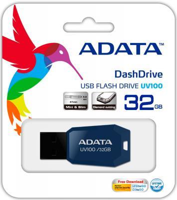 Флешка USB 32Gb A-Data UV100 USB2.0 AUV100-32G-RBL синий usb накопитель 32gb adata s107 синий as107 32g rbl