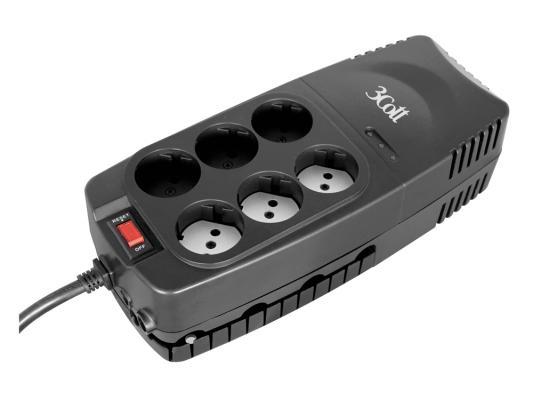 Стабилизатор напряжения 3Cott 2000VA-AVR черный 6 розеток
