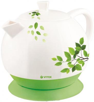 Чайник Vitek VT-1171 1800 Вт 1.3 л керамика белый зелёный рисунок