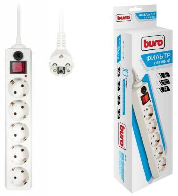 Сетевой фильтр BURO 500SH-3-W белый 5 розеток 3 м