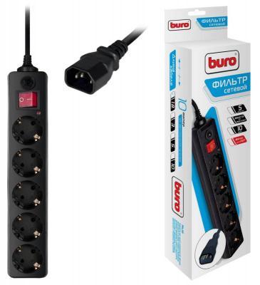 Сетевой фильтр BURO 500SH-1.8-UPS-B черный 5 розеток 1.8 м сетевой фильтр buro 500sh 1 8 b 5 розеток black