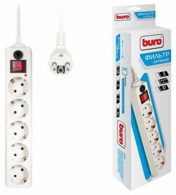 Сетевой фильтр BURO 500SH-1.8-W белый 5 розеток 1.8 м