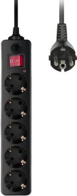 Сетевой фильтр BURO 500SH-1.8-B черный 5 розеток 1.8 м