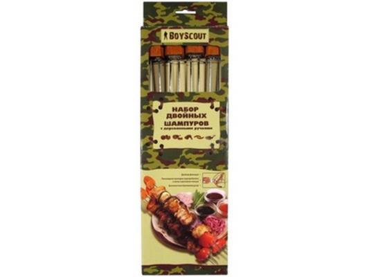 Шампур Boyscout 61052 двойной с деревянными ручками 34см 4шт