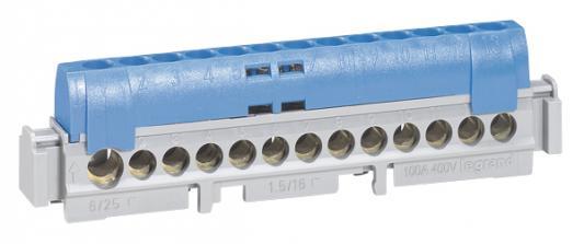 Клеммник Legrand 1х6-25+12х1.5-16мм2 синий 04844