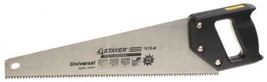 Ножовка Stayer Universal по дереву крупный зуб двухкомпонентная рукоятка 1510-40_z01 ножовка по дереву для стусла runex angle 300мм ударный зуб 13 577405