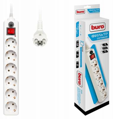 Сетевой фильтр BURO 600SH-1.8-W белый 6 розеток 1.8 м