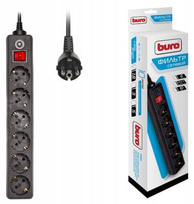 Сетевой фильтр BURO 600SH-1.8-B черный 6 розеток 1.8 м