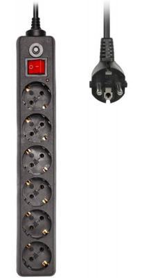Сетевой фильтр BURO 600SH-3-B черный 6 розеток 3 м
