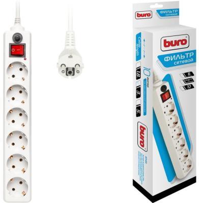 Сетевой фильтр BURO 600SH-3-W белый 6 розеток 3 м цена в Москве и Питере