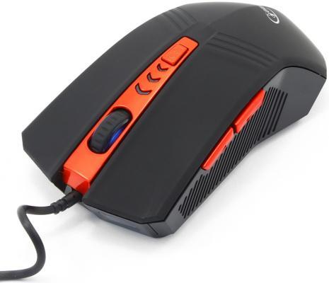 Мышь проводная Gembird MUSOPTI8-809U чёрный красный USB