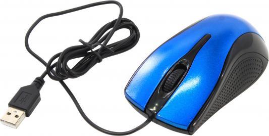 Мышь проводная Oklick 215M чёрный синий USB