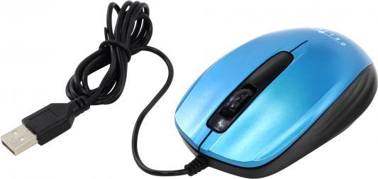 Мышь проводная Oklick 195M синий чёрный USB