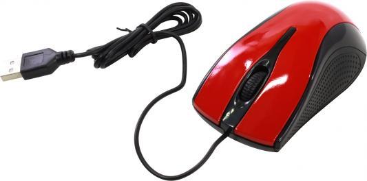 Мышь проводная Oklick 215M чёрный красный USB