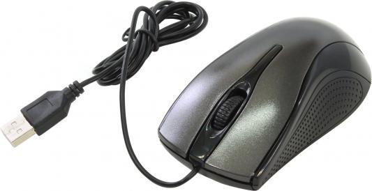 Мышь проводная Oklick 215M чёрный серый USB