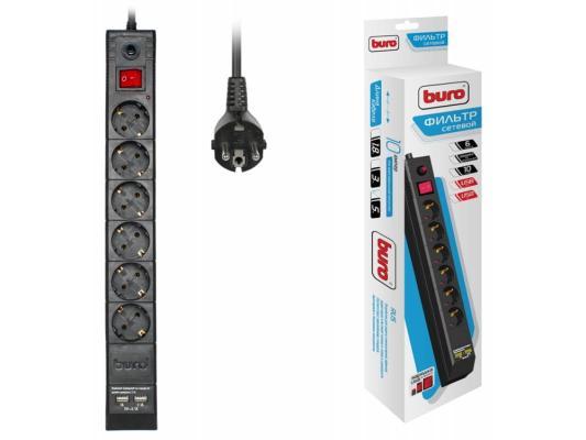 Сетевой фильтр BURO BU-SP5_USB_2A-B черный 6 розеток 5 м сетевой фильтр buro 600sh 3 b 6 розеток black