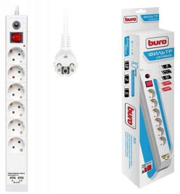 Сетевой фильтр BURO BU-SP5_USB_2A-W белый 6 розеток 5 м сетевой фильтр buro 600sh 3 b 6 розеток black